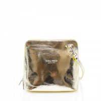 Small Square Gold Leather Shoulder Bag