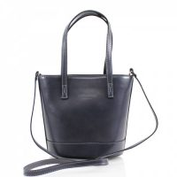 Bucket Style Leather Bag Handbag Grey