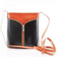 Small Cross Body Leather Bag Handbag Black Tan
