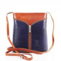 Small Cross Body Leather Bag Handbag Navy Blue Tan