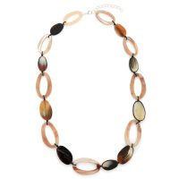 Coloured Stones Necklace Chain - Khaki/Brown