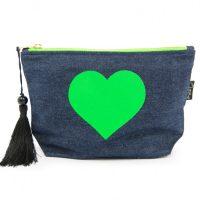 Blue makeup bag green heart