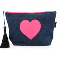 Blue makeup bag pink heart