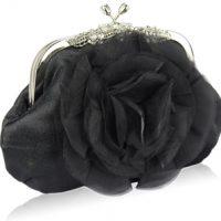 Black Crystal Flower Satin Clutch