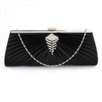 Black Satin Clutch Bag With Crystal Decoration