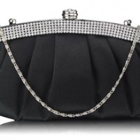 Black Diamante Evening Clutch Bag
