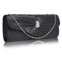 Black Sparkly Crystal Satin Clutch purse