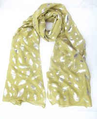 Green Scarf with Foil Leaf Pattern