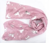 Pink scarf with silver unicorns