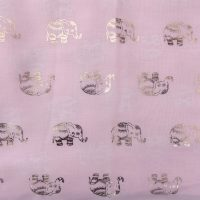 Pink scarf with gold foil elephants