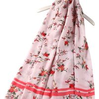 Pink floral scarf with glitter floral pattern