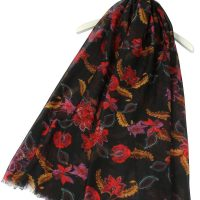 Oriental Floral Print Scarf