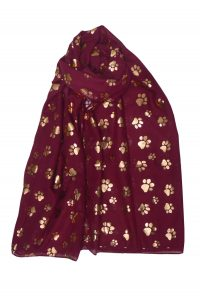 Wine coloured scarf with rose gold paw prints