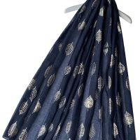 Navy Scarf with Rose Gold Leaf