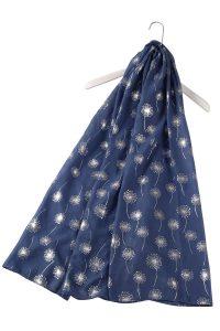 Denim coloured scarf with solver dandelion pattern