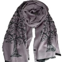 Pink and Grey Tree of Life Scarf
