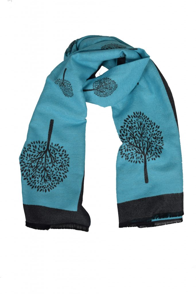 Aqua and Grey Tree of Life Scarf